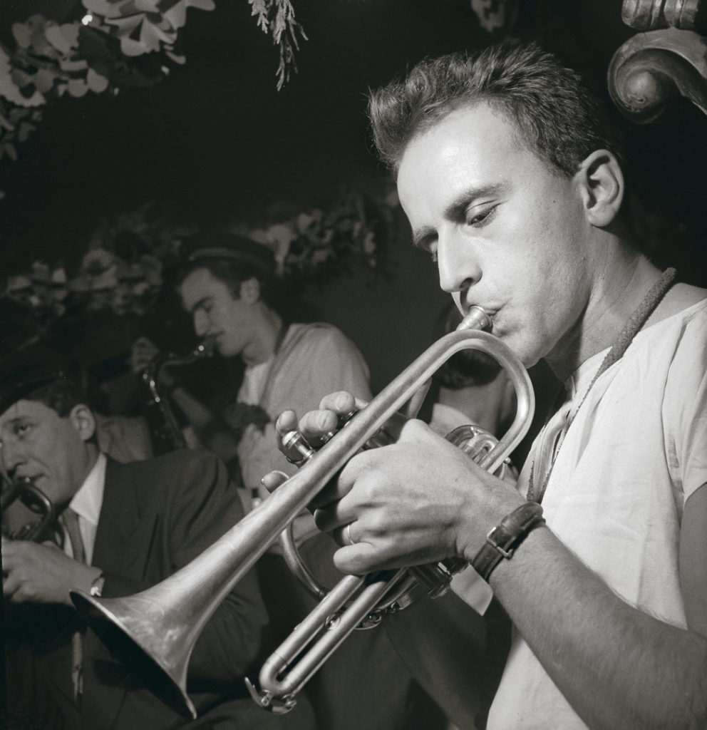 FRANCE - JUNE 01: The French writer and poet Boris VIAN playing his favorite music, jazz on the trumpet, at the Saint-Germain Club in Paris. (Photo by Keystone-France/Gamma-Keystone via Getty Images)